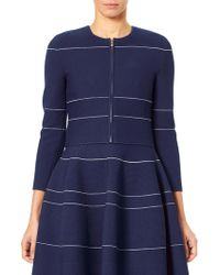 Carolina Herrera - Striped Zip Cardigan - Lyst