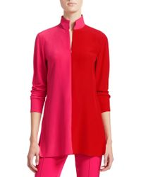Akris - Bi-color Mockneck Silk Tunic - Lyst