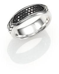 David Yurman - Pave Band Ring With Black Diamonds - Lyst