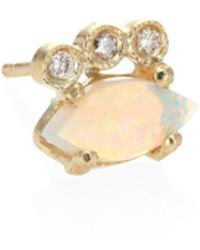 Jacquie Aiche - Diamond, White Opal & 14k Yellow Gold Single Stud Earring - Lyst