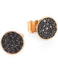 Ginette NY - Black Diamond 18k Rose Gold Round Sequin Stud Earrings - Lyst