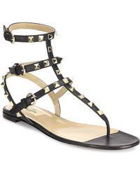 Valentino - Rockstud Noir Gladiator Leather Sandals T.05 - Lyst