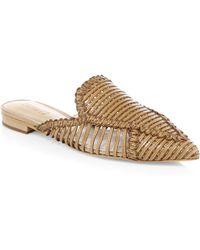 Schutz - Leather Basket Weave Mules - Lyst