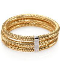 Roberto Coin | Primavera Diamond & 18k Yellow Gold Multi-row Woven Bracelet | Lyst