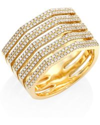 Ron Hami - Five-row Diamond & 18k Yellow Gold Ring - Lyst
