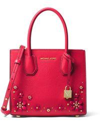MICHAEL Michael Kors - Mercer Floral Embellished Leather Messenger Bag - Lyst