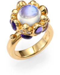 Temple St. Clair - Royal Blue Moonstone, Tanzanite, Diamond & 18k Yellow Gold Cabochon Cluster Ring - Lyst