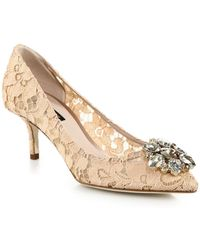 Dolce & Gabbana - Embellished Lace Point Toe Pumps - Lyst