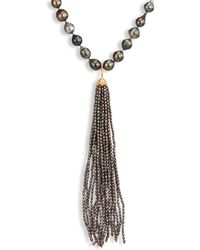 Jordan Alexander - 2mm Grey Seed Pearl, Diamond & 18k Yellow Gold Tassel - Lyst