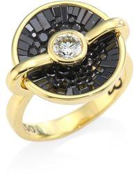 Plevé - Opus Black Diamond & 18k Yellow Gold Round Ring - Lyst