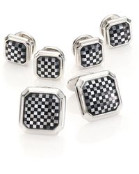 David Donahue - Sterling Silver, Onyx & Mother Of Pearl Stud Set - Lyst
