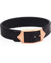 Stinghd - Luxe Pure Silver & Stingray Leather Buckled Bracelet - Lyst