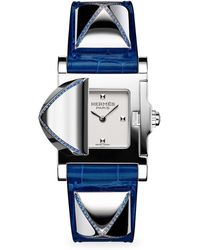 Hermès - Médor Sapphire, Stainless Steel & Leather Strap Watch - Lyst