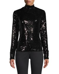 MILLY - Sequins Turtleneck Sweater - Lyst