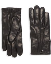 Ferragamo - Snap Leather Gloves - Lyst