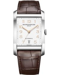 Baume & Mercier - Hampton Stainless Steel & Brown Automatic Strap Watch - Lyst