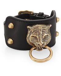 Gucci - Leather Bracelet With Feline Head - Lyst