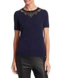 Saks Fifth Avenue - Collection Embellished Cashmere Tee - Lyst