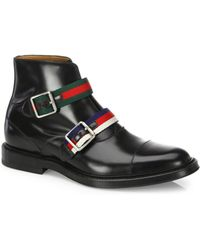 Gucci - Beyond Double Buckle Leather Ankle Boots - Lyst