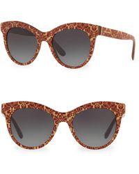 cbd044ff8cb9 Dolce   Gabbana - Women s Dg4311 Glitter Floral 51mm Cat Eye Sunglasses -  Red Gold -