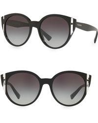 Valentino - Two-tone Acetate Round Sunglasses - Lyst