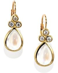 Temple St. Clair - Royal Blue Moonstone, Diamond & 18k Yellow Gold Teardrop Earrings - Lyst