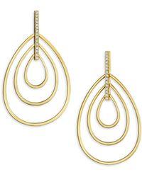 Carelle - Moderne Diamond & 18k Yellow Gold Trio Teardrop Earrings - Lyst