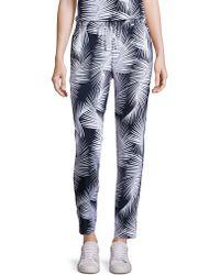 St. John - St. John Sport Collection Palm Print Stretch Silk Trousers - Lyst