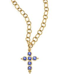 Temple St. Clair - Classic Color Sapphire & 18k Yellow Gold Cross Pendant - Lyst