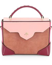 MANU Atelier - Micro-bold Colorblock Leather & Suede Top Handle Bag - Lyst