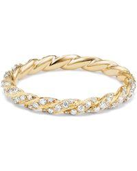 David Yurman - 18k Gold & Diamond Petite Paveflex Ring - Lyst