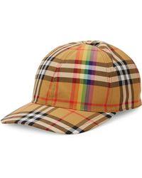 Burberry - Rainbow Tartan Baseball Cap - Lyst