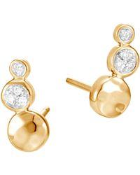 John Hardy - 18k Yellow Gold Dot Hammered Pavé Diamond Stud Earrings - Lyst
