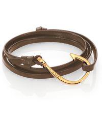 Miansai - Hook Leather & 18k Goldplated Bracelet - Lyst