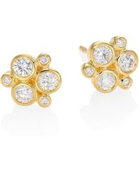 Temple St. Clair | Classic Trio Diamond & 18k Yellow Gold Stud Earrings | Lyst