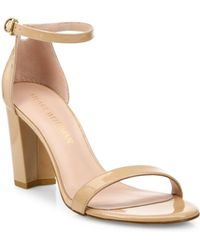 Stuart Weitzman - Nearly Nude Patent-Leather Sandals - Lyst