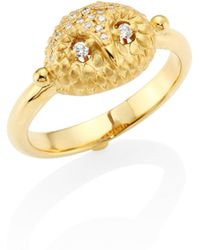 Temple St. Clair - Mini Owl Diamond & 18k Yellow Gold Ring - Lyst