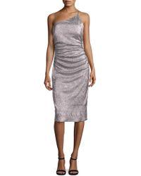 Laundry by Shelli Segal - Metallic Asymmetric Dress - Lyst