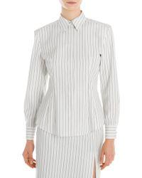 Sara Battaglia - Striped Wool Shirt - Lyst