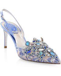 Rene Caovilla - Bejeweled Lace Slingback Heels - Lyst