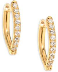 Melissa Kaye - Christina Small Diamond & 18k Yellow Gold Hoop Earrings - Lyst