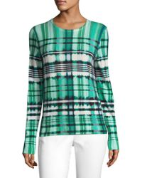 St. John - Ombre Plaid Overprinted Sweater - Lyst