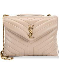 e1725318c110 Saint Laurent - Women s Medium Lou Lou Leather Shoulder Bag - Natural - Lyst