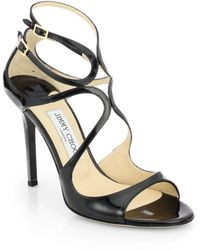 Jimmy Choo - Lang 100 Strappy Patent Leather Sandals - Lyst