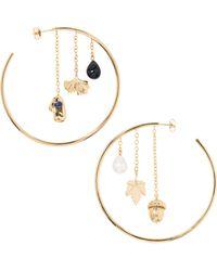 Aurelie Bidermann - Barbizon Baroque Pearl, Lapis Lazulli & Black Agate Hoop Earrings - Lyst