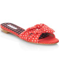 Tabitha Simmons Cleo Polka Dot Bow Cotton Slides QA5WtJYlca