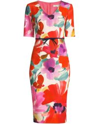 Trina Turk - Camellia Blossom Smoothie Mid Century Dress - Lyst
