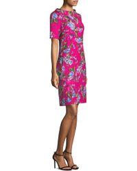 ESCADA - Floral Jacquard Sheath Dress - Lyst