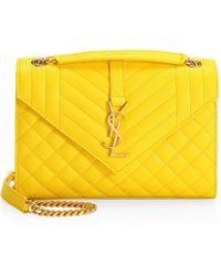 Saint Laurent - Women s Medium Tri-quilted Envelope Shoulder Bag - Cobalt -  Lyst 4ed73bba97