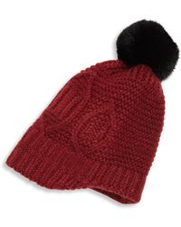 Surell - Kid's Rabbit Fur Pom-pom Cable-knit Hat - Lyst